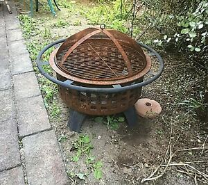 Vintage retro fire pit outdoor garden patio solid condition