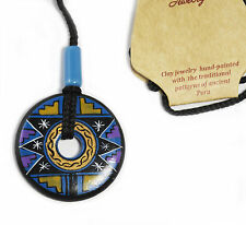 Necklace Purple Navy Gold Hand Made & Painted Disc Peru Ancient Tribal Ceramic