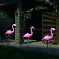 NEW Solar Powered 3pc Pink Flamingo Lights Garden Ornament Outdoor Decor Novelty