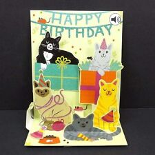 Feline Birthday Greeting Card 3D Pop Up with Sound Effects Happy Birthday Card