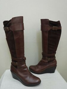COLE HAAN 10.5 Tall Brown Leather Strappy Buckle Knee High Wedge Heels Boots