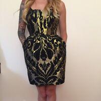 H&M Black & Gold Baroque Mini Sleeveless Peplum Party Dress Size 10 EUR 38