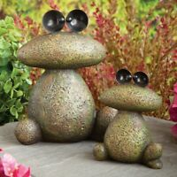 Set of 2 Toad-Ally Awesome Moss Covered Stone Frog Garden Sculptures