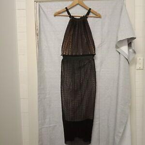 BEC & BRIDGE Dress Black And Peach Sheer Overlay Dress Size 8