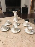 HAVILAND CFH GDM 6 Demitasse Cups And Saucers And Tea Coffee Set of Limoges