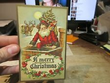 Old Antique Victorian Era Merry Christmas Postcard Santa Claus Chimney Reindeer