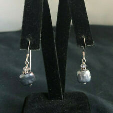 Vintage Sterling Silver Square Abalone Dangle Hook Earrings