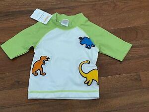 NWT Gymboree Infant Boys Green & White Dinosaur Rash Guard Size 6-12 months