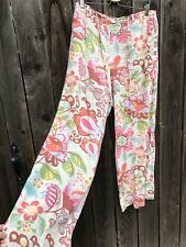 Vintage Oilily Women's Linen Floral Multi Colored Wide Leg Pants Size Large
