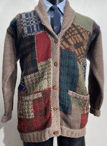 Vintage RRL Ralph Lauren Country Wool Patchwork Cardigan Sweater Men's S