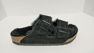 Birkenstock Arizona Fur Sandals, Black Suede, Women's 44 M (EU 42)