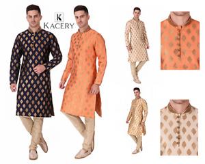 Men's Indian brocade  kurta Pajama fancy wedding outfit sherwani indo AN820
