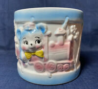 Vintage Nursery Planter Made In Japan  Bear On Train with Flowers Baby Room Deco