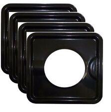 Stove Set of (4) 7.8'' inch Wide Burner Liner Drip Pan Black Metal Stove Cover