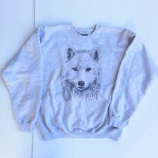 VTG Ultimate Cotton HANES printpro JP Grover WOLF Sweatshirt Sweater Gray Mens L