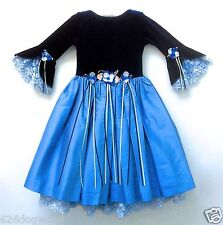 NWT Cassie's Creations USA 2T Blue Silk Lace Formal Party Pageant Dress Gown