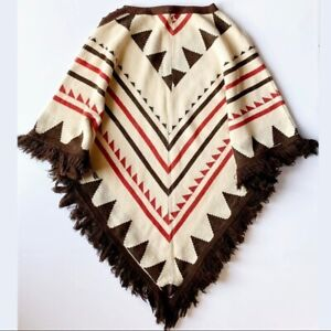Vintage Western Sweater Poncho Tan Brown Red Women's One Size