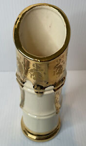 Vintage Hollywood Regency Porcelain Weeping Gold Bamboo Vase