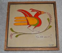 Tsa-sah-wee-eh (Helen Hardin) 1943-1984 Native American Acrylic Painting on Tile