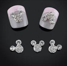 10 x 3D Nail Art Rhinestone Mickey Mouse Alloy Crystal Cute Gel Decoration UK