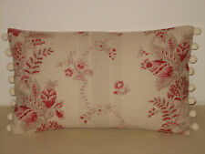 """NEW Kate Forman Beatrice Red Linen Fabric 20""""x12"""" Pom Pom or piped Cushion Cover"""