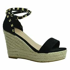 New Womens Studded Wedge Suede Effect Espadrille Ankle Strap Shoes