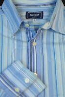 Duchamp London Men's Blue Stripe Luxury Cotton Casual Shirt XL XLarge