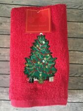 """Christmas Tree Hand Towels Set of 2 16x28"""" Red Embroidered Guest Bathroom NEW"""