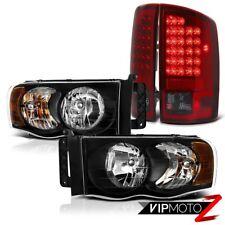 02-05 Dodge Pickup RAM 1500/2500 Black Crystal L+R Headlight+SMOKE LED Tail Lamp