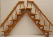 2 adorable wood wall shelf knick knack heart cut outs minatures stair step curio