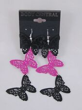 New Pair of Pink & Black Butterfly Earrings  #E1071