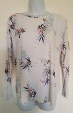 Womens Phase Eight White Floral Oversized Drop Shoulders Loose Jersey Top 10 New
