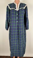 Lanz of Salzburg Christmas Plaid Flannel Cotton Nightgown Eyelet Trim Medium