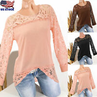 Womens Crew Neck Long Sleeve Tops T Shirt Ladies Lace Casual Blouse Sweater US