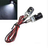 White 2 Pcs SMD LED Motorcycle License Plate Bolt Screw Light Lamp