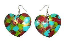 CocoPainted Heart Shape Painted Coconut Shell Hook Drop/Dangle Earrings Handmade
