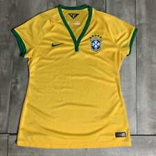 Brasil National Team 2014 NIKE Dri Fit Soccer Yellow Jersey Women Large Brazil