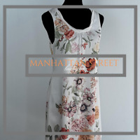 H&M NWOT Womens Sz 8 White Pink Floral Sleeveless Fully Lined Casual Dress 8055
