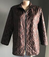 Pre-owned TURN CHEER Brown/Black Floral Print Quilted Long Sleeve Parka Size 20