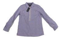 NWT Tommy Hilfiger Orange Blue Tab Sleeve Half Zip Collar Plaid Shirt Womens S