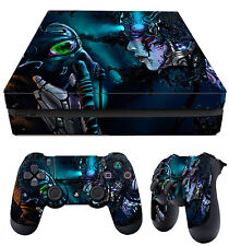 PS4 PlayStation 4 Fino Piel CYBERPUNK GAS MASK OSCURO + Pad PEGATINAS VINILO LAY