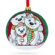 Bear Family Glass Ball Christmas Ornament 4 Inches