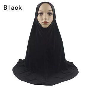 Girls Prayer Black Hijab.( Large )length 68cm