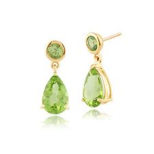 Peridot Drop/Dangle Natural Yellow Gold Fine Earrings