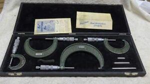 ** Vintage - CRAFTSMAN - 4 piece MICROMETER SET in ORIGINAL BOX - NICE **