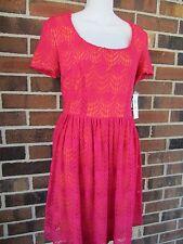 NWT 10 Petite Dress Red Orange Crochet London Times Keyhole Back Short Sleeve