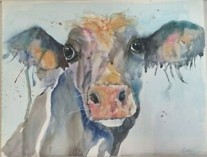 Original signed cows watercolour on 40 x 30 cm paper. I9Y266.