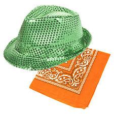 St Patrick's Day Green Sequin Fedora Hat & Orange Bandana Fancy Dress