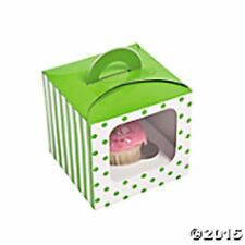 NEW LIME GREEN  POLKA DOT AND STRIPE CUPCAKE BOXES WITH INSERTS (12)