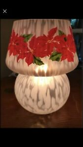 Rare Modern Speckled  Art Glass Mushroom Table Lamp Christmas Poinsettia